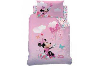 Minnie Mouse Toddler Cot Quilt duvet doona cover set,pink,girls