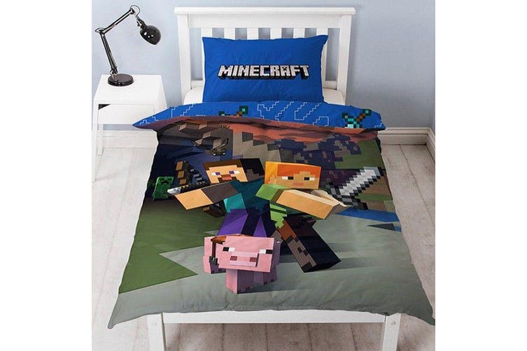 Minecraft  Single Quilt Cover Set Reversible