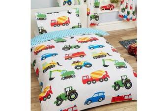 Boys Trucks Construction trucks Toddler Cot Quilt duvet doona cover set