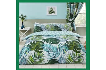 Palm Leaves Tropics Quilt duvet doona cover set (Double)