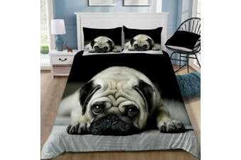 Pug Puppy Animal Print Quilt Cover Set (King)