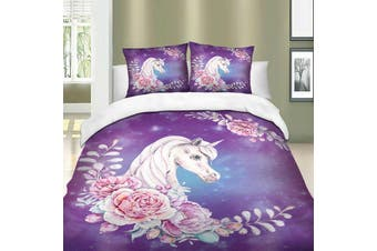 Unicorn Wreath Quilt duvet doona cover set, purple (Double)