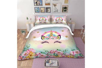 Rainbow Unicorn Quilt Cover Set, girls (Double)