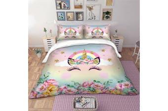 Rainbow Unicorn Quilt Cover Set, girls (Queen)