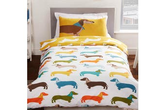 Sausage Dog Puppy Single Quilt cover set