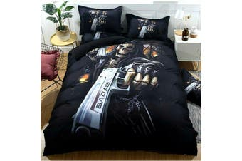 Skull Gun Quilt Cover Set (Double)