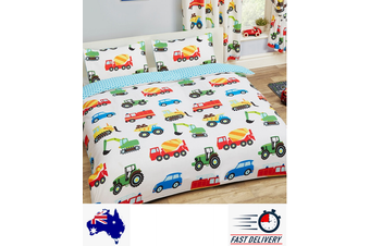 Trucks Double/Queen Construction Boys Quilt Doona Duvet Cover Set (Double)