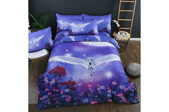 Unicorn Fly Quilt duvet doona cover set, girls (Double)