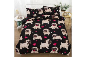 Pug Dog Quilt Cover Set, puppy (Queen)