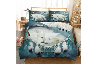 Wolf Dream Catcher Feather  Quilt Cover Set (King)