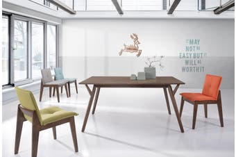 Designer Dining Table 150 x 90cm Solid Wood 6 Seater Scandinavian - Walnut
