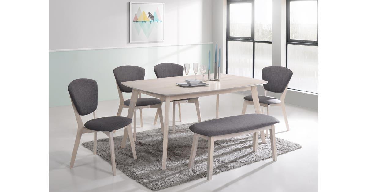 6pcs Dining Sets W 1 5m Table 4x Chairs 1 Bench Seat Scandinavian In White Washed Matt Blatt
