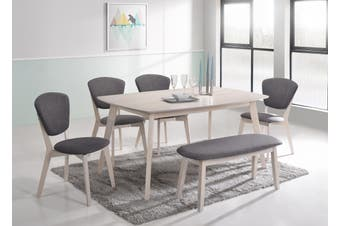 6Pcs Dining Sets w/ 1.5m Table +4x Chairs +1 Bench Seat Scandinavian in White Washed