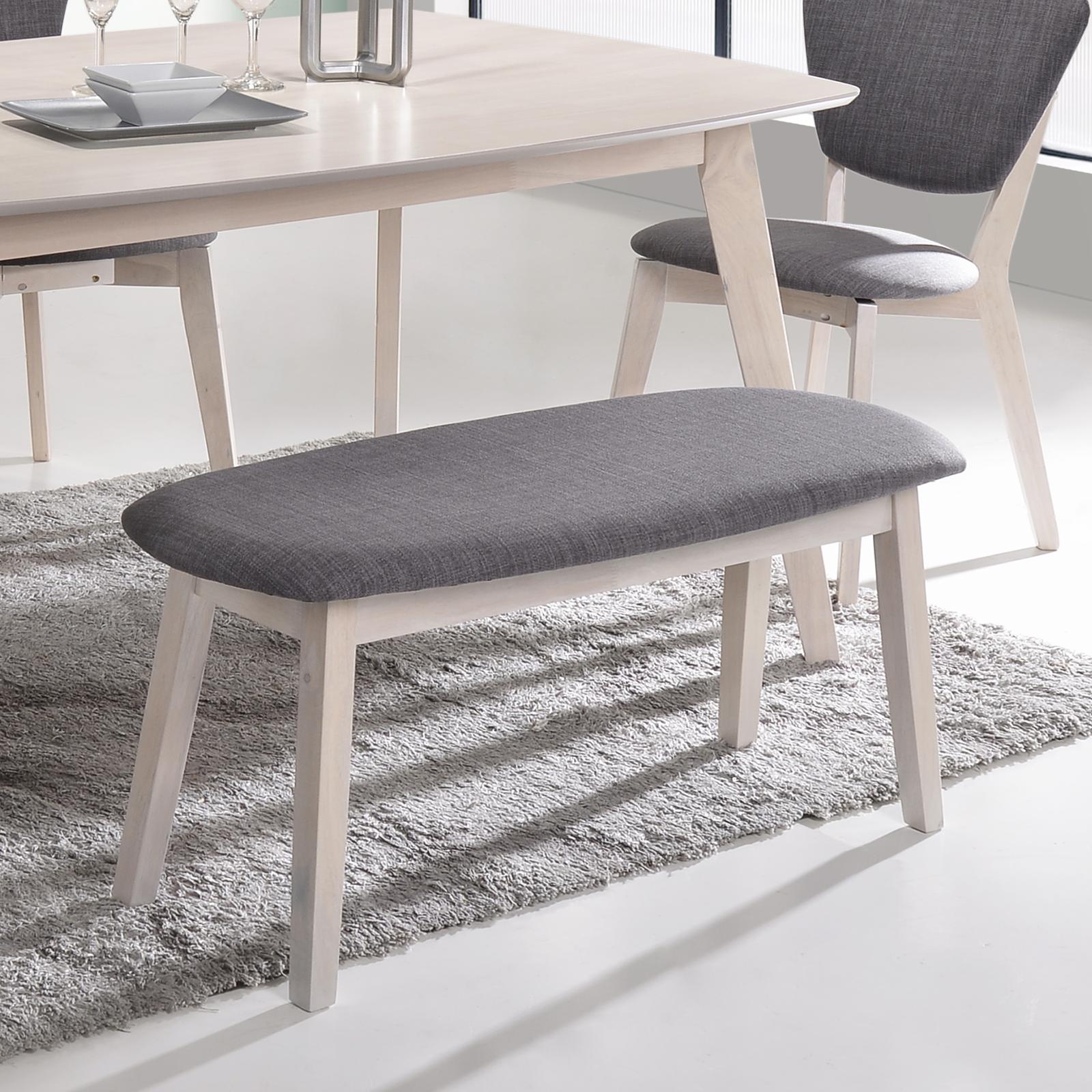 Upholstered Dining Bench Seat Chair In White Oak Matt Blatt