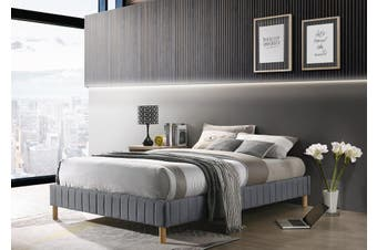 Contemplorary Platform Bed Base Fabric Frame with Timber Slat King in Light Grey