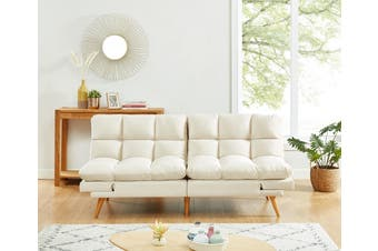 Alexa 3 Seater Velvet Sofa Bed Futon Cream