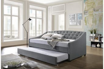 Daybed with Trundle Bed Frame Sofa Fabric Upholstery