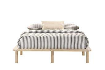 Platform Bed Base Frame Wooden Natural Queen Pinewood