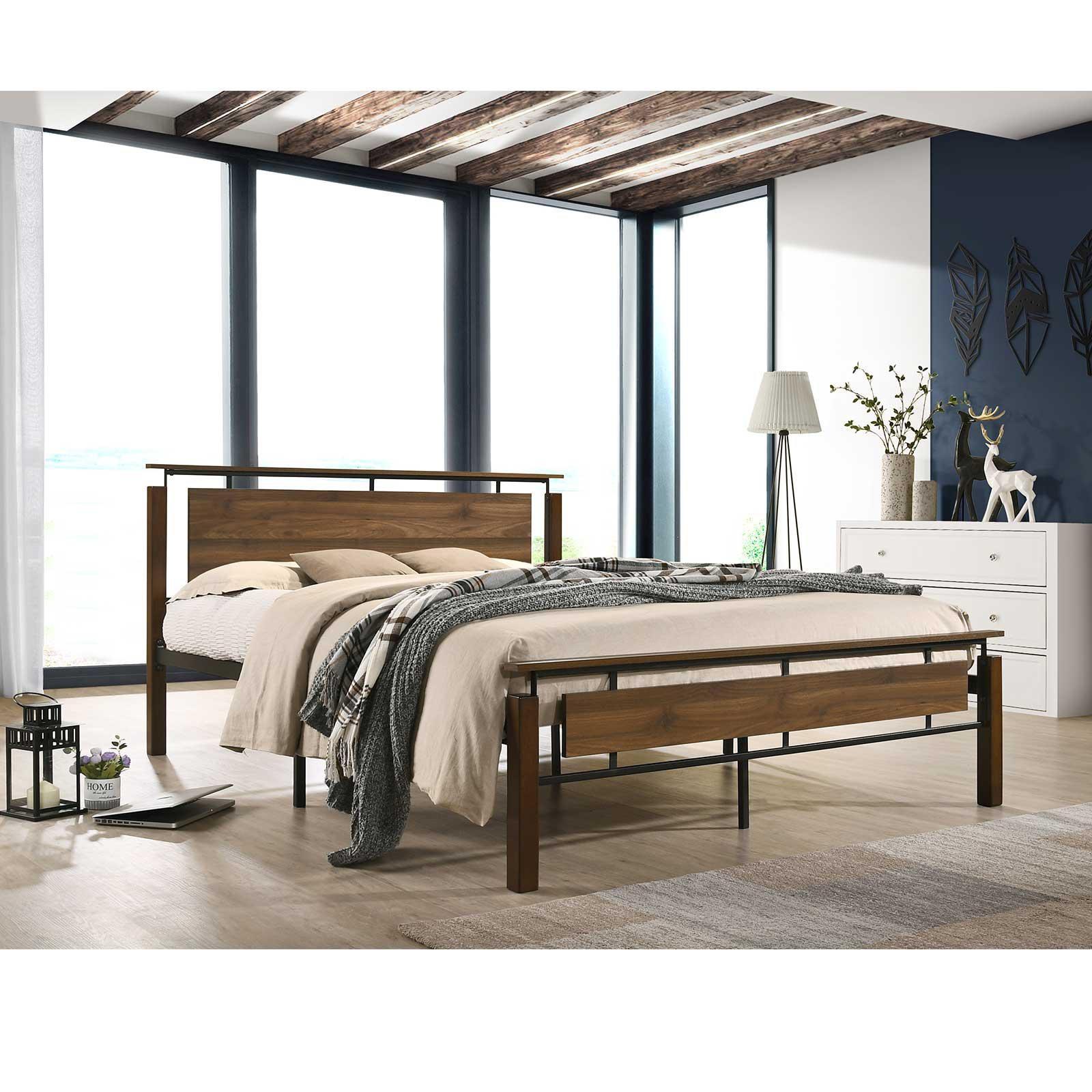 Industrial Metal Bed Frame With Solid Rubberwood Platform Base Queen Size Matt Blatt