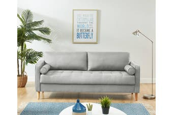 Cassandra 3 Seater Sofa Couch Light Grey