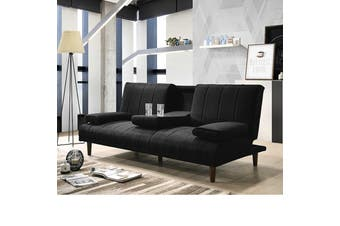 Fabric Sofa Bed with Cup Holder 3 Seater Lounge Couch - Charcoal