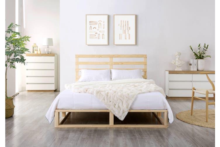 Industrial Coastal Pallet Bed Frame Bed Base Queen