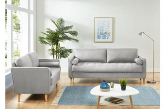 Cassandra 2 and 3 Seater Sofa Set Light Grey