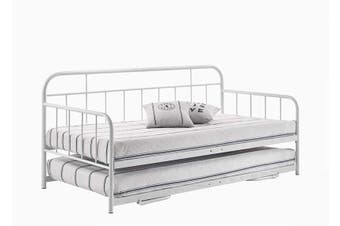 Metal Daybed Pop Up Trundle Sofa Bed Frame Single Size White
