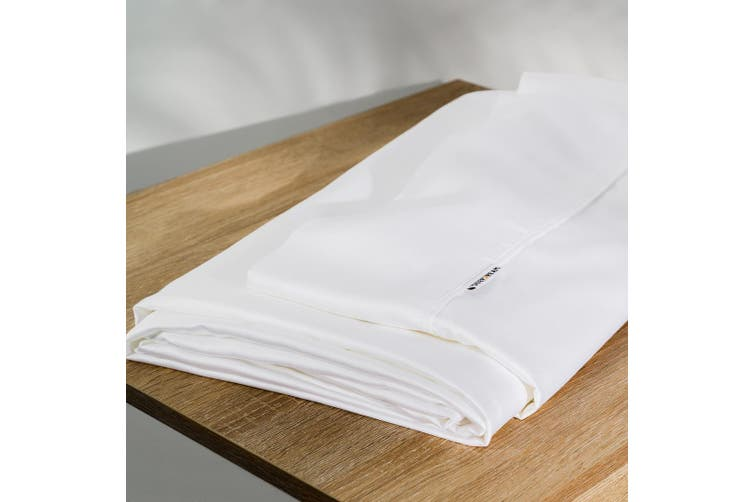 Organic Natural Bamboo 3 Pieces Fitted Sheet Set Bed Sheet White King Single 500 Thread