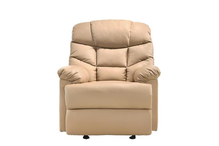 Leather Rocking Recliner Chair Armchair Swing Gliding Beige