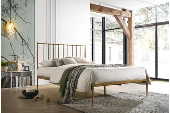 Metal Bed Frame Base Platform in Gold Double Mid Century Timber Slat