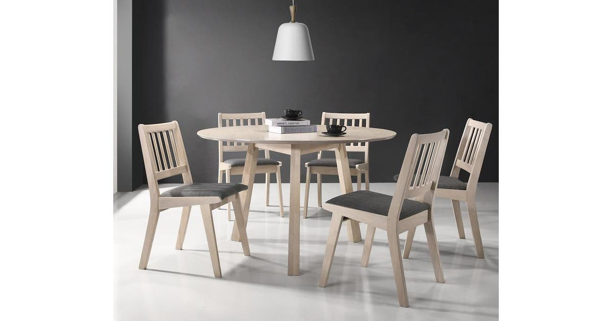 7 Pieces Round Dining Set Table Chairs Solid Rubberwood In White Washed Matt Blatt