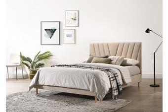 Modern Contemporary Upholstered Fabric Platform Bed Base Frame King Beige