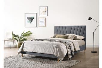 Modern Contemporary Upholstered Fabric Platform Bed Base Frame King Light Grey
