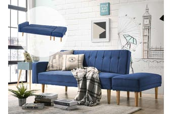 Scandinavian 3 Seater Sofa Bed w/ Ottoman Futon Couch - Blue