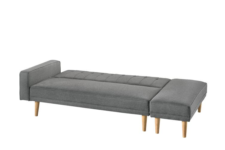 Scandinavian 3 Seater Sofa Bed w/ Ottoman Futon Couch - Light Grey