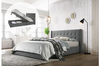 King Designer Winged Storage Bed Frame Gas Lift Ottoman in Light Grey