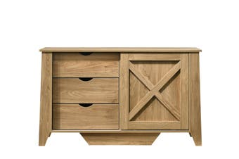 Wooden Sliding door Sideboard with 3 Drawers
