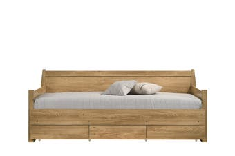 Natural Wooden Day Bed with 3 Drawers Sofa Bed Frame