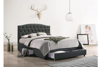 French Provincial Modern Fabric Platform Bed Base Frame with Storage Drawers Queen Charcoal