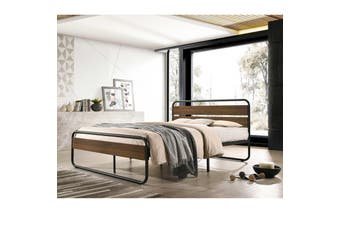 Idustrial Wooden Bed Frame with Metal Platform Base - Double Size