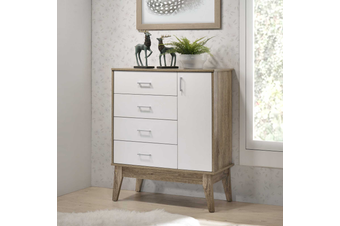 Tallboy 4 Chest of Drawers with Door Cabinet Storage Shelf