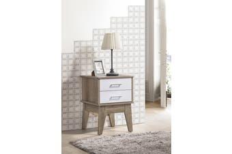 2 Drawers Bedside Table Scandinavian Nightstand - Oak