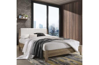 Wooden Bed Frame w Leather Upholstered Bed Head Double Queen King