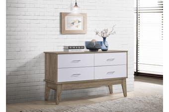 Sideboard 4 Drawers Scandinavian Design - Oak