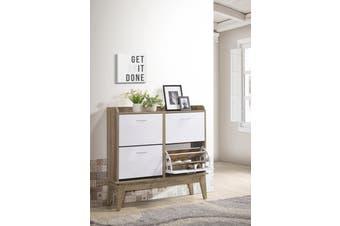 Large Shoe Cabinet Rack Organiser Scandinavian design - Oak