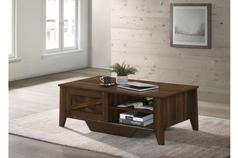 Industrial Style Wooden Coffee Table Dark Wood Sliding Door Storage Cabinet