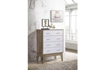 Scandinavian Tallboy 4 Chest of Drawers Storage Cabinet - Oak