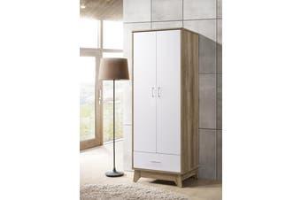 2 Door Wardrobe w/ Drawer Shelf Storage Cabinet Scandinavian - Oak