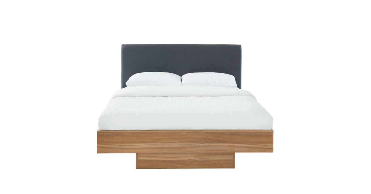 scandihome wooden floating bed frame double queen king walnut oak nook 0912hb dark d